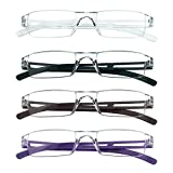 4 Pairs Reading Glasses, Blue Light Blocking Glasses, Computer Reading Glasses for Women and Men, Fashion...