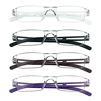 4 Pairs Reading Glasses Blue Light Blocking Glasses Computer Reading Glasses for Women and Men Fashion Rectangle Eyewear Frame 4 Colors +2.50 Magnification