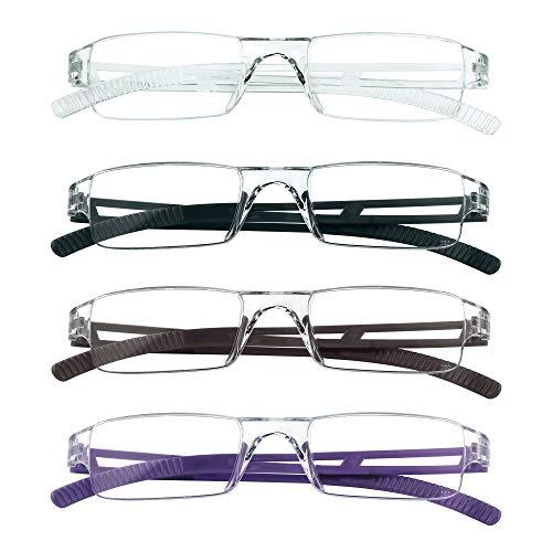 4 paires de lunettes de lecture, lunettes de blocage de lumière bleue, lunettes de lecture d'ordinateur pour femmes et hommes, monture de lunettes de mode rectangulaire (4 couleurs, 3.50)