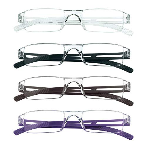 4 Pairs Reading Glasses, Blue Light Blocking Glasses, Computer Reading Glasses for Women and Men, Fashion Rectangle Eyewear Frame(4 Colors,+1.50 Magnification)