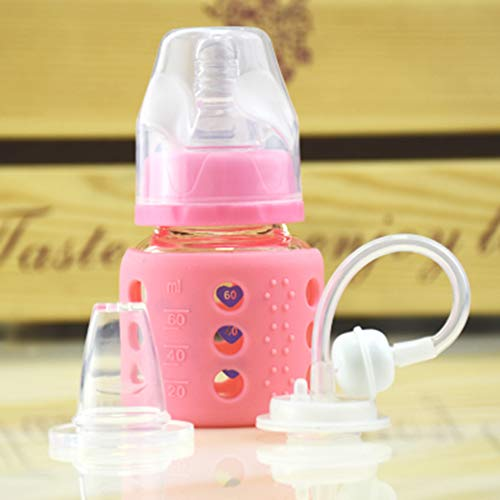 Lucun Natural - Botella de Cristal para bebé (60 ml, Resistente a los arañazos), Amarillo, 60 ml