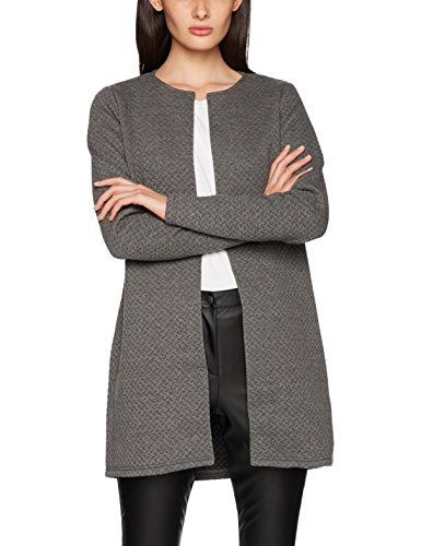 Vila Clothes Damen VINAJA New Long JKT Strickjacke, Grau (Medium Grey Melange), 38 (Herstellergröße: M)