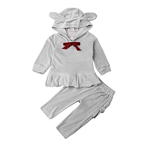 2Pcs Fashion Toddler Kids Baby Girls Velvet Clothes Outfit Pant Set (Grey, 12-18 Months)