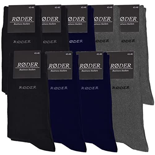 RØDER Business Socken für Herren im 9er Set • Bequeme Herrensocken • 9 Paar Mix • 43-46 • Je 3 Paar Schwarz, Dunkelblau und Anthrazit Melange • Baumwolle • Anzug-Socken • Baumwollsocken