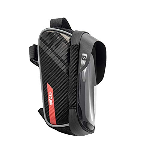 ShenPourtor Bike Phone Mount Bag, Cycling Waterproof Front Frame Top Tube Handlebar Bag with Touch Screen Holder Case for iPhone X XS Max XR 8 7 Plus, for Android/iPhone Fits Phones Below 6.5 Inches