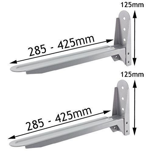SPARES2GO Universal Silver Adjustable Extendable Microwave Holder Brackets by Spares2go