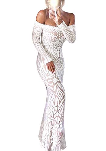 Yissang Women's Off Shoulder Floral Sequined Wedding Evening Mermaid Maxi Long Dress Bridal Gowns White X-Large
