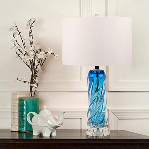 Contemporary Blue Glass Lamp,25.5