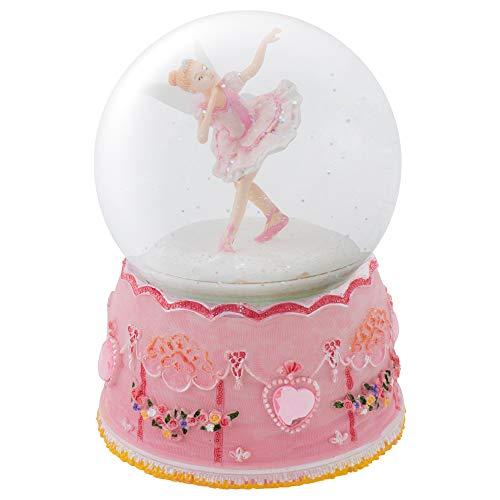 Elanze Designs Pink Ballerina Fairy Rotating Figurine 100MM Water Globe Plays Tune Swan Lake