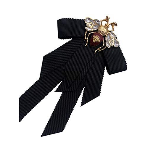 Amosfun Retro Bowtie Brosche Kristall Bee Tier Brosche Corsage Pretied Fliege Revers Pin Hemd Krawatte Jabot Kragen Neck Krawatte für Frauen Uniform (Schwarz)