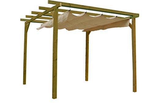 AD servicios Pérgola de Madera tratada con toldo corredero (270x270x254 cm)