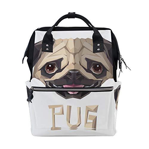 Bolsa de pañales para perros con diseño de carlino para bebé, mochila multifunción grande, para viajes, escuela, universidad, al aire libre