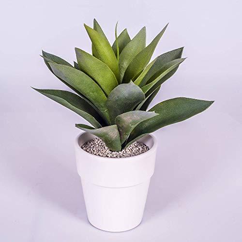 artplants.de Künstliche Agave, 20 Blätter, grün, im weiß Terracotta Topf, 30cm - Kunstpflanze Agave - Künstlicher Kaktus