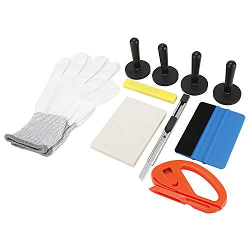 FreeTec Profi Autofolie Werkzeug Enthält Folienrakel Vollfilzrakel Ersatzfilz Magnete Arbeitshandschuhe für Autofolierung, Car Wrapping