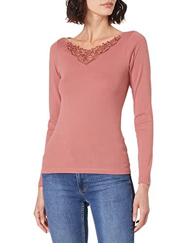 ONLY Damen ONLKIRA Life L/S LACE TOP JRS T-Shirt, Rosé, S