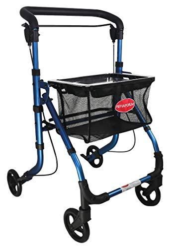 FabaCare Indoor Rollator ActimoHome, schmal mit Tablett, Leichtgewicht Wohnungsrollator faltbar, Heimrollator, bis 100 kg, Blau