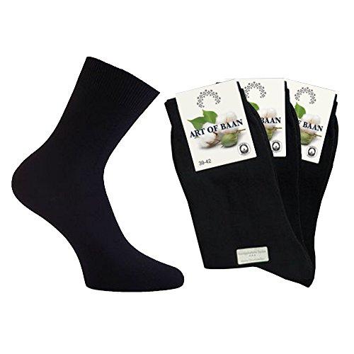 Art-of-Baan 10 Paar Socken für Damen 100prozent Baumwolle schwarz Größe 39-42