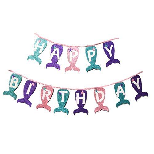 Lilly and the Bee Novelties My Little Mermaid Magical Sparkle Happy Birthday Banner