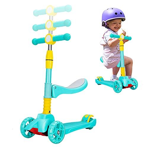 Patinete plegable para niños, 3 ruedas con luz LED, para niños de 2 a 12 años, niños y niñas (dulces verde)