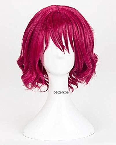 Pelucas de Cosplay Akatsuki no Yona Yona, peluca de pelo sinttico resistente al calor rizado rojo rosa corto + gorro de peluca