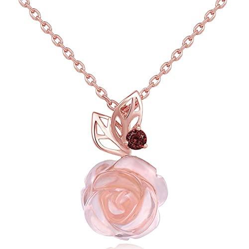 Jishu Collar con colgante de piedras preciosas Majestic Rose para mujer, anillo de plata, elegante regalo de joyería