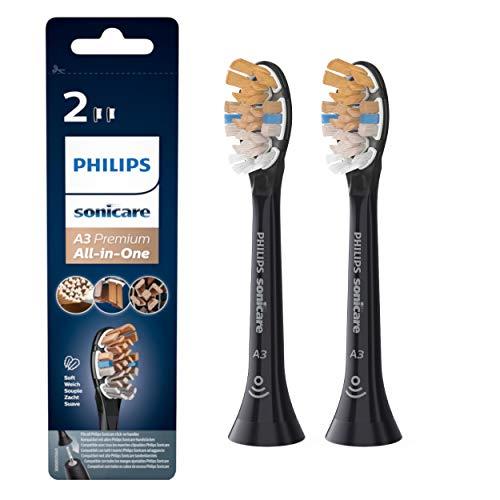 Philips Sonicare A3 Premium - Pack de 2 Cabezales de cepillado sónicos (todo en uno, Ajuste Click-on, BrushSync habilitado, tamaño estándar) negro