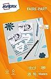 Avery Einladungskarten A6 200 g/m² 50 Stück weiß