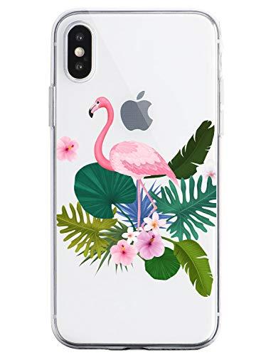 Oihxse Case Transparente Suave TPU Compatible con iPhone 11 Funda [Lindo Caricatura Flor Serie Dibujos] Cristal Protector Carcasa Anti Rasguños Bumper Cover-Flamenco