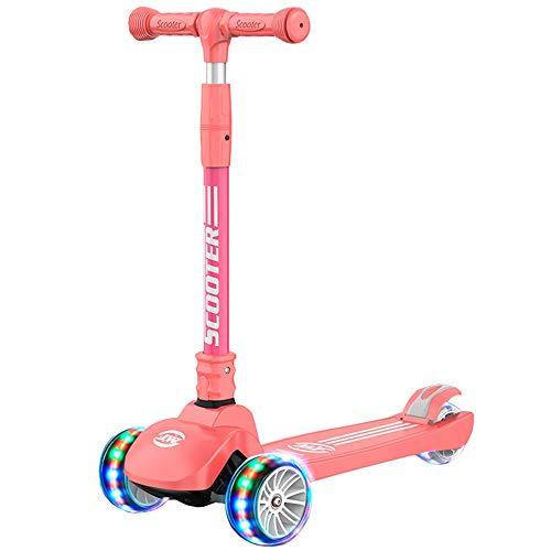 LJHBC Patinete Scooter para niños de 3 Ruedas con Rueda Intermitente Plegable Ajuste de Altura Apto para Mayores de 3 años. Niño y niña (Color : Pink)