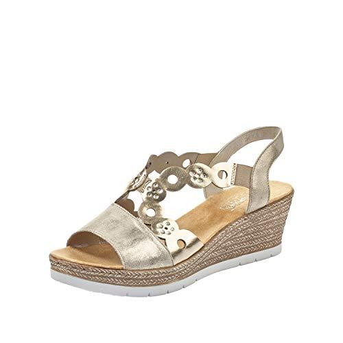 Rieker DAMES Sandalen 619D6, Vrouwen Strappy Sandalen,sandaal,zomerschoen,zomersandaal,hiel,Beige (beige kombi / 62),39 EU / 6 EU