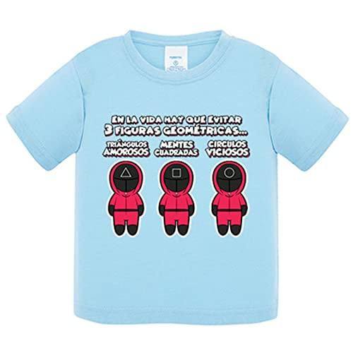Camiseta bebé parodia del calamar con frase divertida de las tres figuras geométricas triángulo cuadrado círculo - Celeste, 2 años