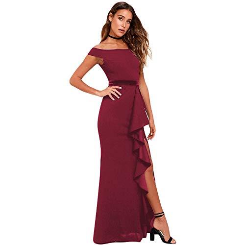 Vestido de noche para mujer con hombros descubiertos, largo y elegante, vestidos de dama de honor, vestidos de fiesta de boda (color: vino tinto, tamaño: S)