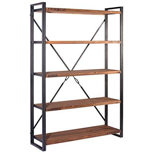 Indhouse - Estantería loft con estilo industrial en metal y madera Michigan