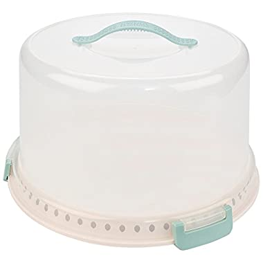 Sweet Creations, locking cake carrier with server, up to 10 inch, 3-layer cake, light blue and cream
