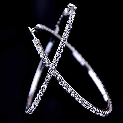WEIXINMWP Nuevo 3-10 cm Pendientes de aro de Cristal Grande Paparazza Pendientes de Baloncesto Pendientes, Plata,10cm