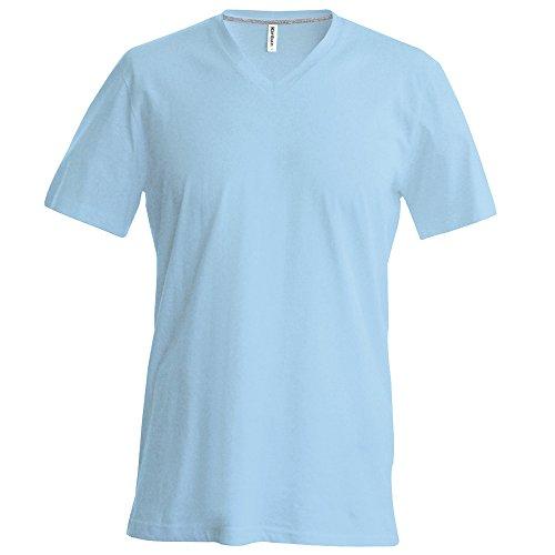 Kariban Manche Courte Col V T-Shirt - Bleu Ciel, XXXX-Large