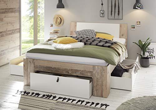 DEINE TANTE EMMA 22-190-V0 Cardiff Old Style Eiche hell/weiß Bett Jugendbett Einzelbett Gästebett Doppelbett & Schubladen 140 x 200 cm inkl. Rost & Matratze