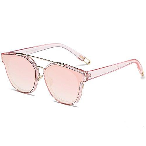 SOJOS Schick Klassische Retro Doppelt Metallbrücken Rechteckig Sonnenbrille Damen Herren SJ2038 mit Gold Rahmen/Rosa Verspiegelt Linse