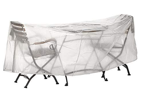 Dehner Bon Choix Housse de Protection pour Table de Jardin Diamètre 320 cm, Hauteur 80 cm, Polyéthylène, Transparent