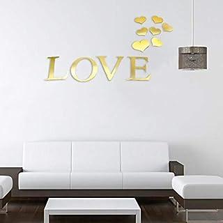 Art 3D Gold LOVE Acrylic Mirror Wall Sticker Home Decor DIY Kitchen Living Room TV Background Decoration