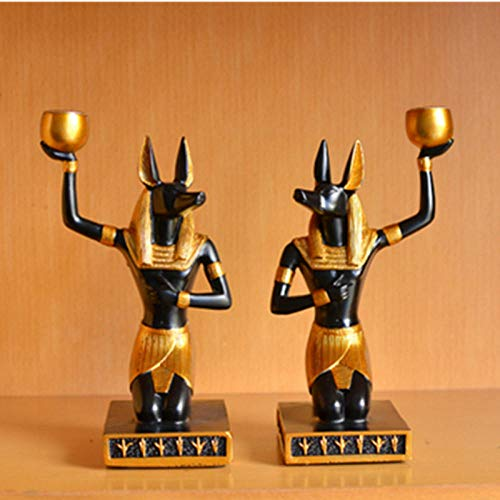 Standbeelden Ornamenten Egyptische Stijl Decor Hond God Anubis Woonkamer Desktop Creatieve Kandelaar Home Ornament Gift Decorations
