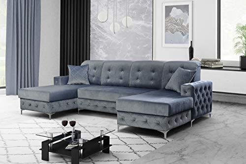 all4all Ecksofa mit Schlaffunktion Paros Chesterfield Sofa Antik Look U-Form Gewebe Grau Samtoptik 17
