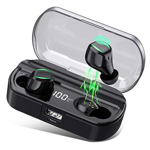 HETP Auriculares Bluetooth, Auriculares Inalámbricos Deporte con TWS Micrófono Manos Libres, [LCD 0-100% 3500mAh Caja de Carga] Auricular In-Ear Mini Twins Estéreo Impermeable IPX7 para iOS y Android