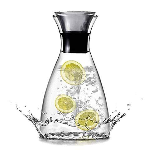 HongLianRiven Tetera de Vidrio Tetera Outlet de Calor Botellas de Agua fría 1 litro Botella de Vidrio con una párpada Juguito Fresco Jarra Evitando Lado Tetera Transparente