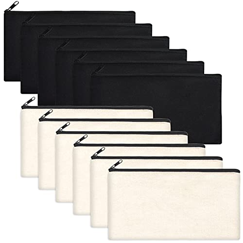 12 Pack Blank Canvas Makeup Bag- Bulk Cosmetic Bags with Black Zipper, Multipurpose Canvas Zipper Pencil Case Pouch, Travel Toiletry Pouch, DIY Craft Gift Bags for Women Girls (6 Beige and 6 Black)