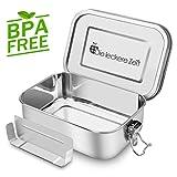 Premium Auslaufsicher Edelstahl Brotdose mit Fächern, BPA und Plastikfreie Bento Box mit Flexibler Abtrennung, 1200ml Metall Brot Box Lunchbox, Nachhaltig, Geeignet für...
