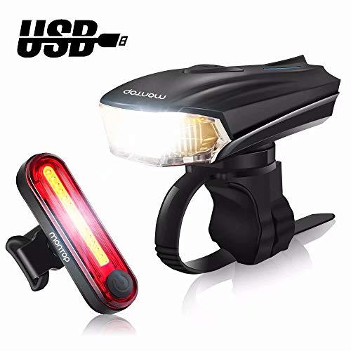 MONTOP Fahrradlicht LED Set, LED Fahrradbeleuchtung USB Wiederaufladbare, Wasserdicht Frontlicht und Rücklicht Set, Super Hell Fahrradlampe 1200mAh Li-ion Akku