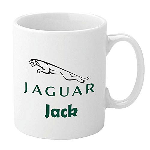 Personalised Jaguar Mugs. Printed White Ceramic Mugs. Full Colour. Customise with Name. Unique Gift Present for Jag Owner.