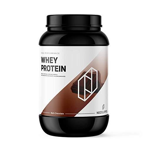 Premium Whey Protein für Muskelaufbau & Abnehmen in leckeren Geschmäckern | Low Carb Eiweiß-Shake, Eiweiß-Pulver mit Aminosäuren (BCAA) | 1kg NeoSupps Protein Pulver – Schokolade/Schoko