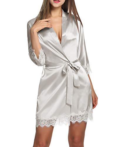BeautyUU – Albornoz para mujer, satén sexy, kimono con bolsillos, corto, túnica con cinturón, camisón de noche para novia con encaje de flores plata XS